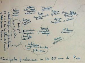 Mapa de la España de los años 60 enviado a la Pirenaica.