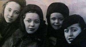 Las hermanas Ruiz en 1938: Conchita, Araceli, Angelines y Águeda.