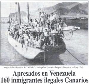 Inmigrantes canarios llegando a Venezuela en 1949.