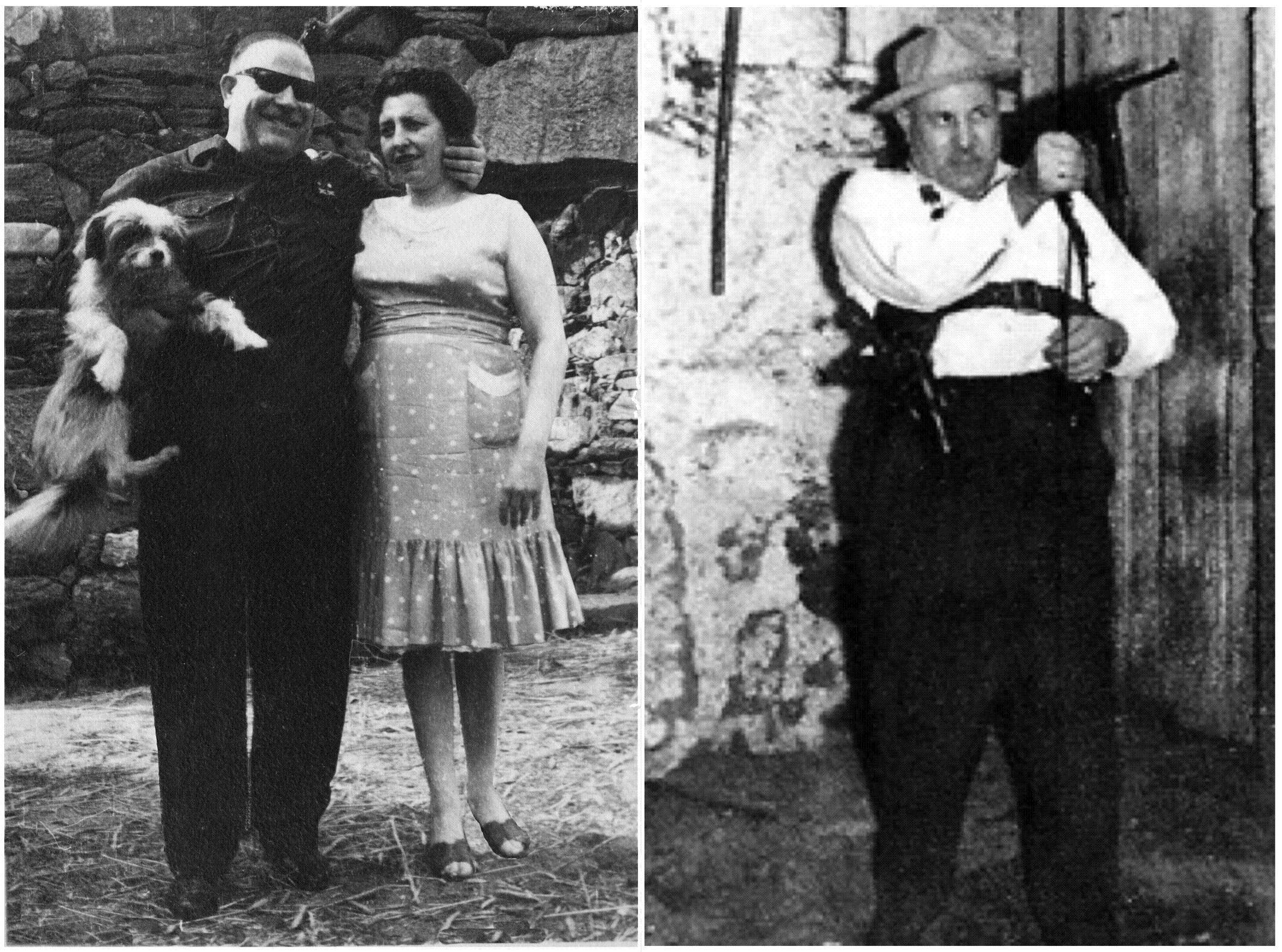 O Piloto con su mujer Mirelle. Y solo armado.