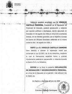 Virgilio Castilla, reparación